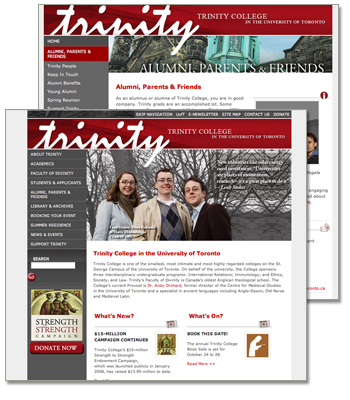 A sample of the Trinity Web site